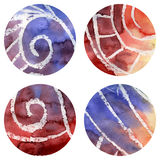 Set of Grunged Vector Watercolor Circles Royalty Free Stock Photography