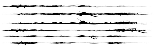 Set of grungy brush strokes. Shapes to for rip, slash, damage, t Stock Images