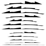 Set of grungy brush strokes. Shapes to for rip, slash, damage, t Stock Photo