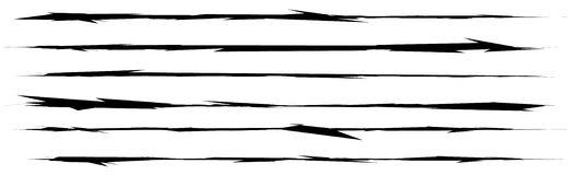Set of grungy brush strokes. Shapes to for rip, slash, damage, t Royalty Free Stock Photos
