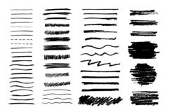 Set of grungy graphite pencil art brushes. Pencil textures of different shapes. Easy edit color and apply to any path, writ. E and draw. EPS 10 stock illustration