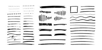 Set of grungy graphite pencil art brushes. Pencil textures of different shapes. Easy edit color and apply to any path, writ. E and draw. EPS 10 royalty free illustration