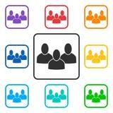 Set grupa kwadrata ikony z 3 zaludnia ilustracja wektor