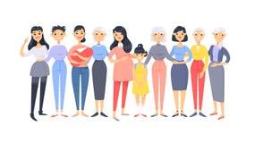 Set grupa różne azjatykcie amerykańskie kobiety Kreskówka stylowi charaktery różni wieki Wektorowi ilustracyjni ludzie royalty ilustracja