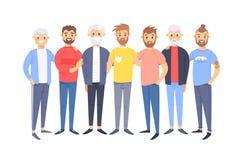 Set grupa różni caucasian mężczyźni Kreskówka stylowi europejscy charaktery różni wieki Wektorowy ilustracyjny amerykanin ilustracja wektor