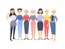 Set grupa r??ne azjatykcie ameryka?skie kobiety Kresk?wka stylowi charaktery r??ni wieki Wektorowi ilustracyjni ludzie ilustracji
