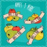 Set grupy owoc tak jak jabłka i bonkrety ilustracja wektor