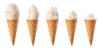 Set gryźć waniliowy lody z gofrem fotografia stock