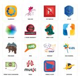 Set of gryphon, mobile silent, money back guarantee, petshop, free bear, great dane, heptagon, no parking, teamspirit icons. Set Of 16 simple  icons such as Royalty Free Stock Image