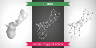Guam set of grey and silver mosaic 3d polygonal maps. Graphic vector triangle geometry outline shadow perspective maps. Set of Guam polygonal mosaic modern maps Stock Images