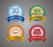 Set of guarantee badge, emblem, patch Royalty Free Stock Photos