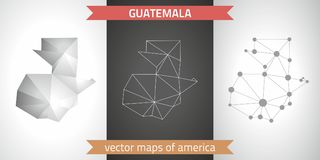 Guatemala set of grey and silver mosaic 3d polygonal maps. Graphic vector triangle geometry outline shadow perspective maps. Set of Guatemala polygonal mosaic Stock Photos