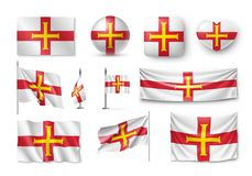 Set Guernsey flags, banners, banners, symbols, flat icon. Vector illustration of collection of national symbols on various objects and state signs Stock Photography