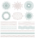 Set of Guilloche decorative elements. Royalty Free Stock Image