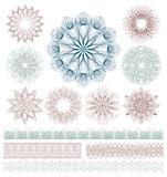 Set of Guilloche decorative elements. Royalty Free Stock Photos