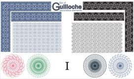 Set of Guilloche decorative elements. Stock Photography