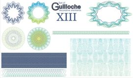 Set of Guilloche decorative elements. Vector illustration Stock Images