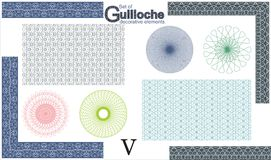 Set of Guilloche decorative elements. Stock Image