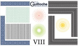 Set of Guilloche decorative elements. Royalty Free Stock Images