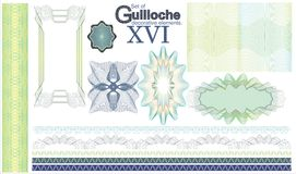 Set of Guilloche decorative elements. Royalty Free Stock Photo