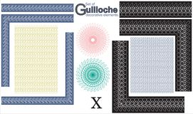 Set of Guilloche decorative elements. Stock Images