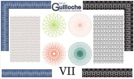 Set of Guilloche decorative elements. Stock Photo