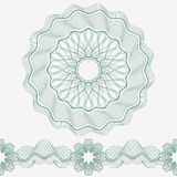 Set: Guilloche Pattern Rosette and border for certificate or diploma, isolated. Stock Photos