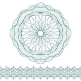Set: Guilloche Pattern Rosette and border for certificate or diploma, isolated. Vector illustration Stock Image