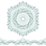 Set: Guilloche Pattern Rosette and border for certificate or diploma, isolated. Vector illustration Royalty Free Stock Photos