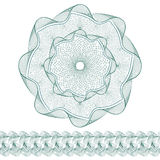 Set: Guilloche Pattern Rosette and border for certificate or diploma, isolated. Vector illustration Stock Photos