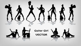 Set of guitar girl silhouettes. On gray background Stock Images