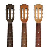 Set of Guitar neck fretboard and headstock Stock Image