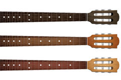 Set of Guitar neck fretboard and headstock Stock Photos