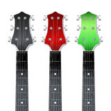 Set of Guitar neck fretboard and headstock. Set of Rock Guitars neck fretboard and headstock.  Illustration isolated on white background Stock Images