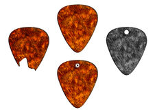Set of guitar picks fire texture Royalty Free Stock Image