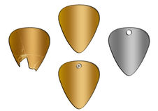 Set of guitar picks gold texture Royalty Free Stock Photography