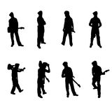 Set of Guitar Player silhouettes stock photos