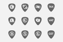 Set of guitar plectrums with  money, economy, business and finan Stock Photography