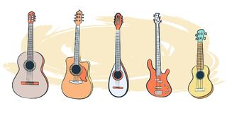 Set of Musical Instruments-01. A set of guitar-plucked stringed instruments. Clipart on an abstract beige background. Rock n roll day. , vector illustration Stock Images