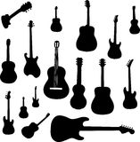 Set of guitar silhouettes Royalty Free Stock Photos