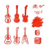 Set of guitars made marker. Stock Photography