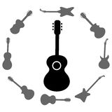 Set of Guitars Silhouettes Royalty Free Stock Image
