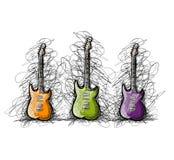 Set of guitars, sketch for your design vector illustration