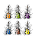 Set of guitars, sketch for your design stock illustration