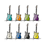 Set of guitars, sketch for your design Royalty Free Stock Photography