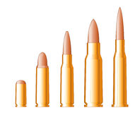 Set of gun bullets Stock Images