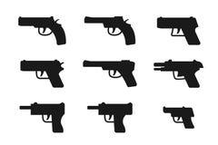 Set of gun icon in silhouette style, vector. Design Stock Photos