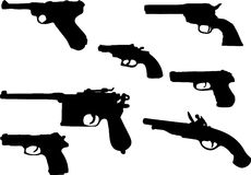 Set of guns - 1. Silhouettes Royalty Free Stock Images