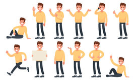 Set of a guy in casual clothes in different poses. A character f. Or your project. Vector illustration in a flat style royalty free illustration