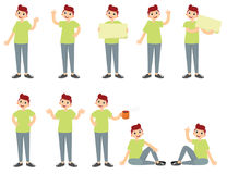 Set of a guy in casual clothes in different poses. A character for your project. stock image